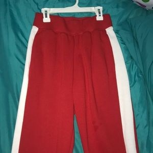 Forever 21 red / white sweatpants ; has pockets!